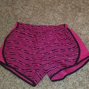 Zebra print pink and black Nike shorts